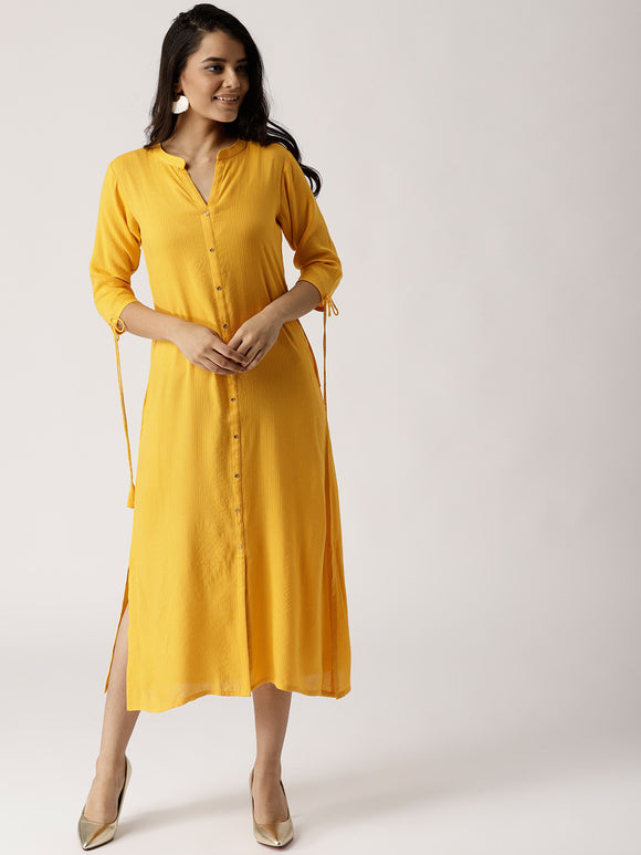 Yellow Striped Shirt Dress