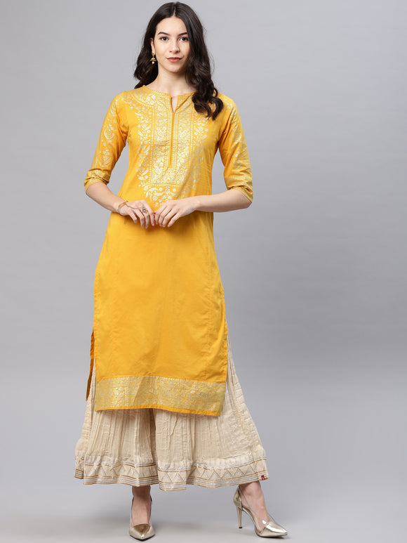 Mustard & Gold-Toned Solid Straight Kurta (Top Only)