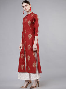 Maroon & Gold-Coloured Printed Kurta with Palazzos