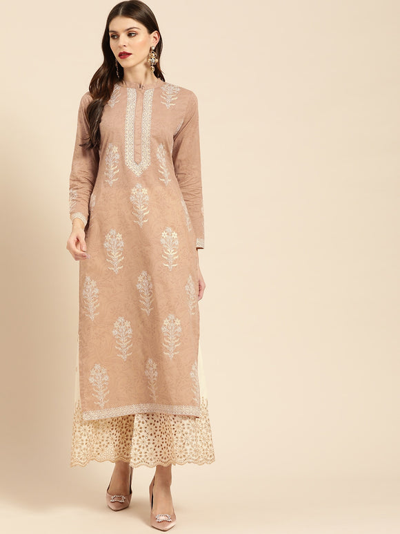 Beige & Off-White Printed Kurta with Palazzos