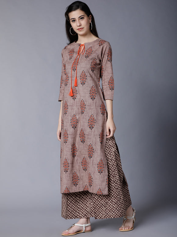 Brown Printed Kurta with Palazzos