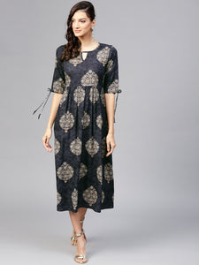 Charcoal Grey & Beige Printed Empire Dress