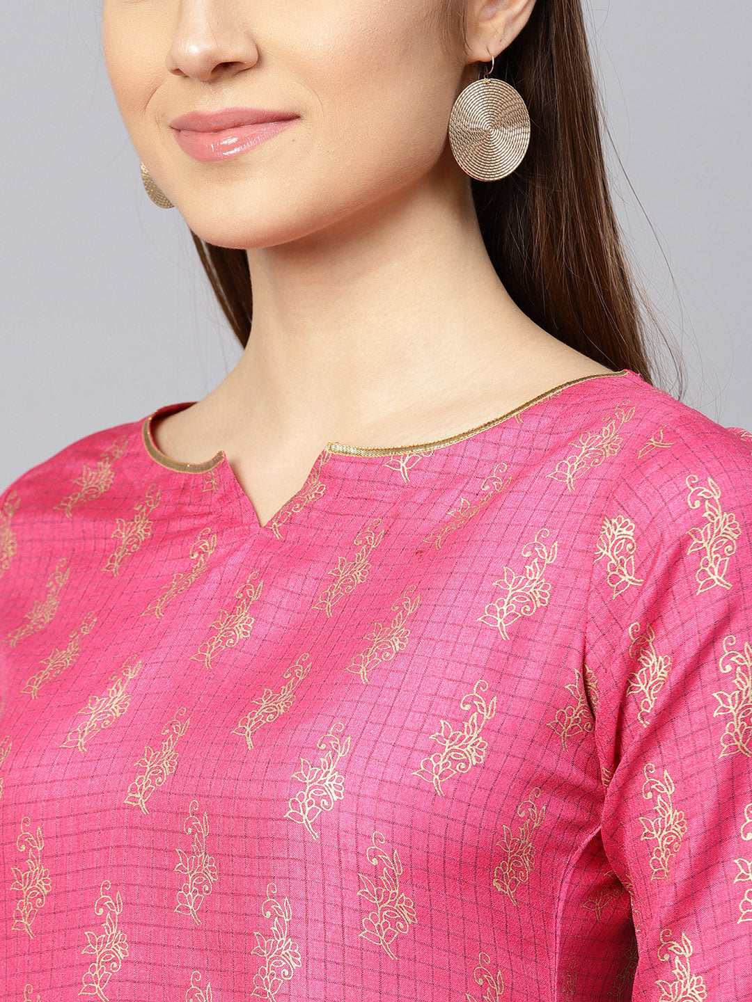 Pink & Golden Checked Kurta with Palazzos