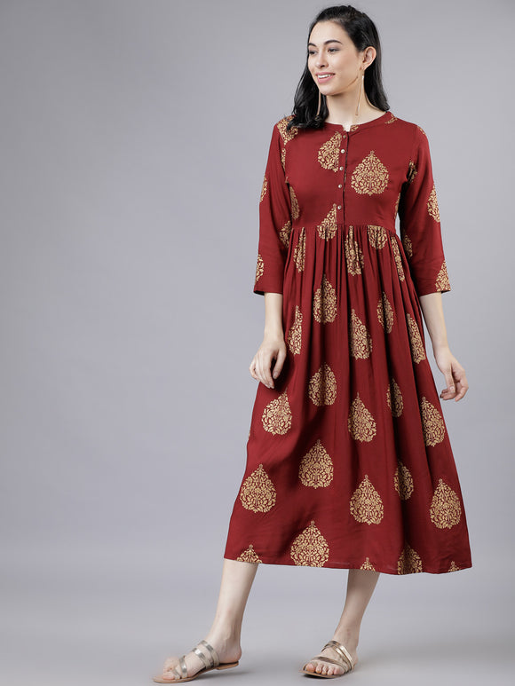 Maroon & Beige A-Line Dress