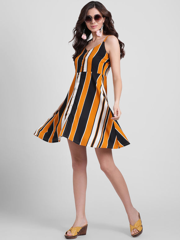 Striped Mustard Fit and Flare Dress