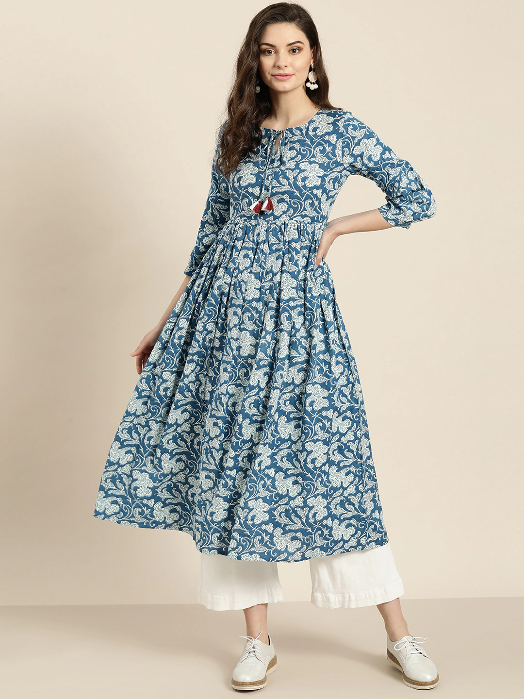 Blue & Off-White Printed Anarkali Kurta (Top Only)
