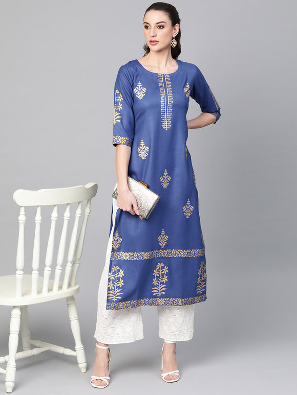 Blue & Golden Block Print Straight Kurta (Top Only)