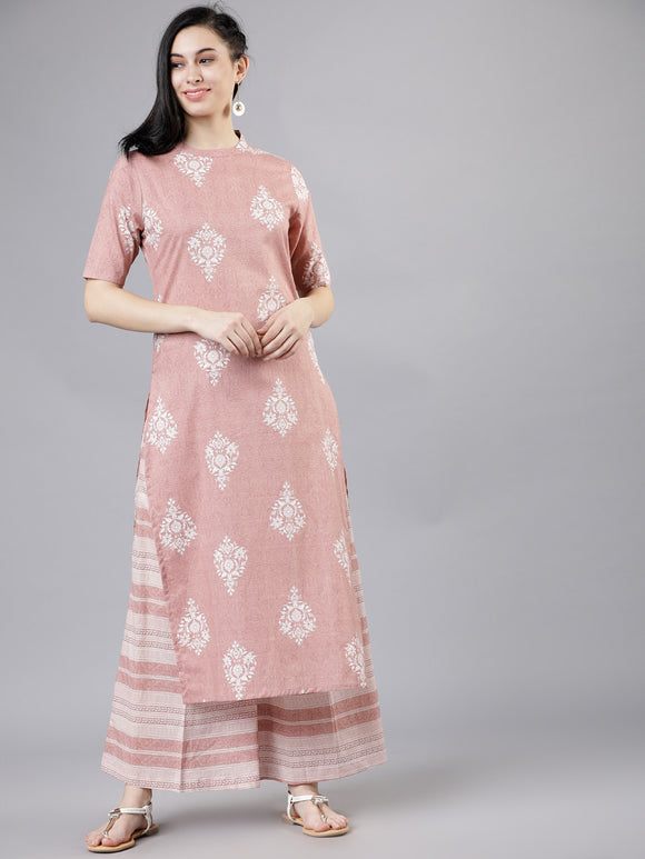 Pink & Off-White Printed Kurta with Palazzos