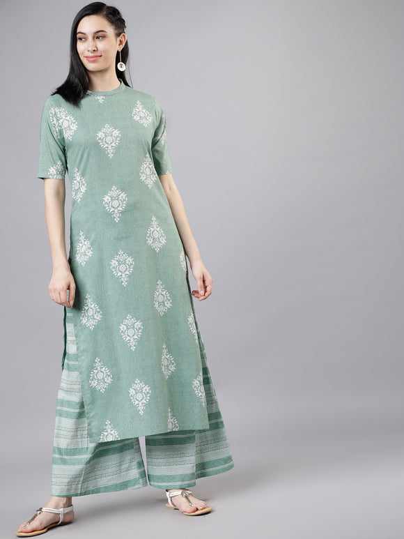 Green & Off-White Printed Kurta with Palazzos