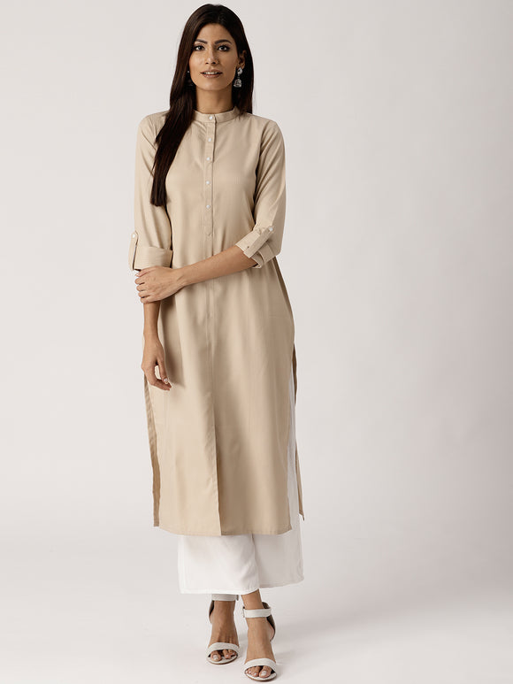 Beige Striped Straight Kurta