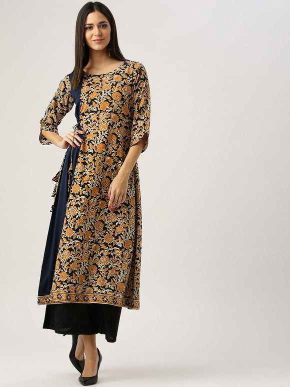 Black & Rust Orange Printed A-Line Kurta (Top Only)