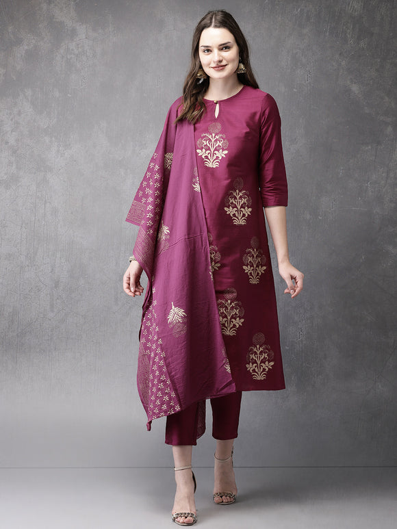 Fuchsia Printed Kurta with Trousers & Dupatta