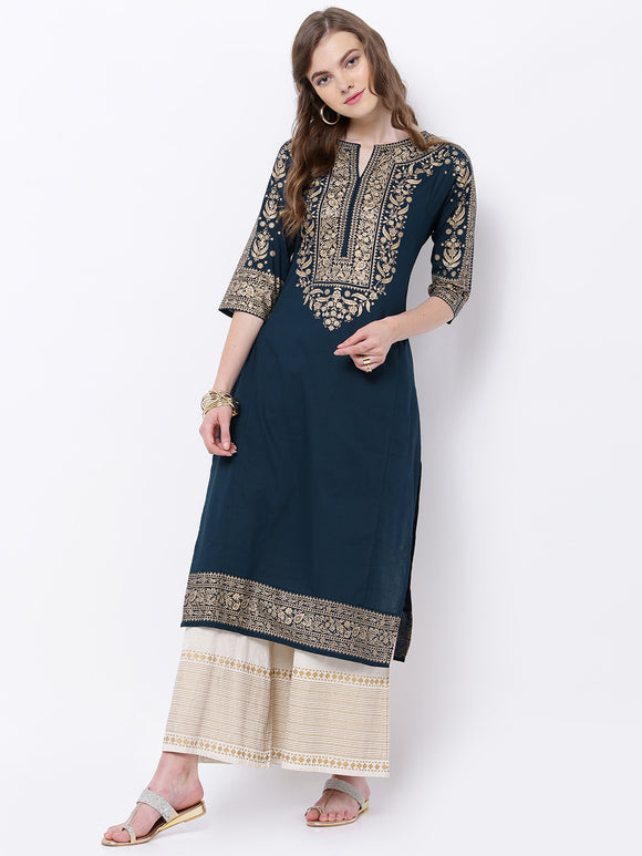 Navy Blue & Gold-Toned Printed Straight Kurta (Top Only)