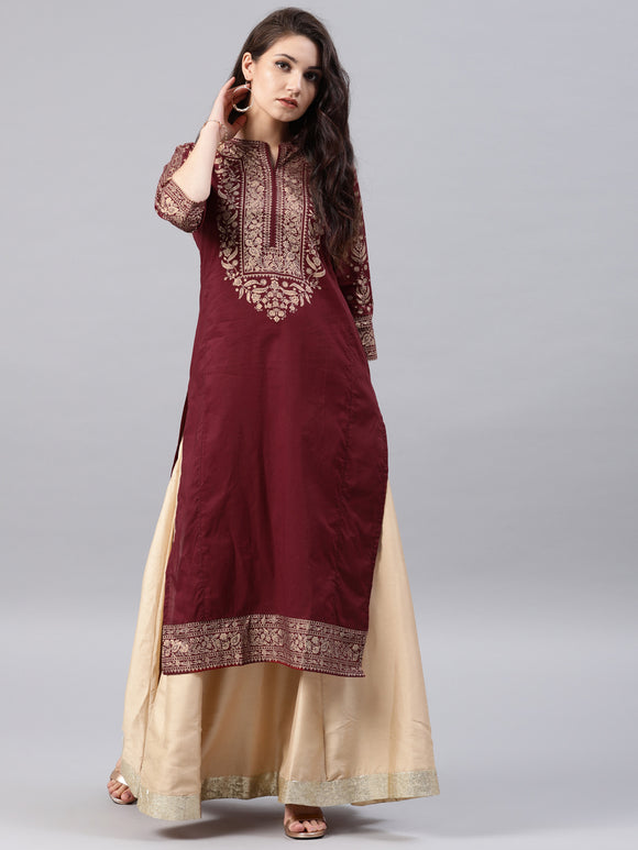 Maroon Printed Straight Kurta (Top Only)