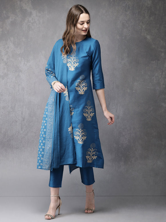 Blue Printed Kurta with Trousers & Dupatta