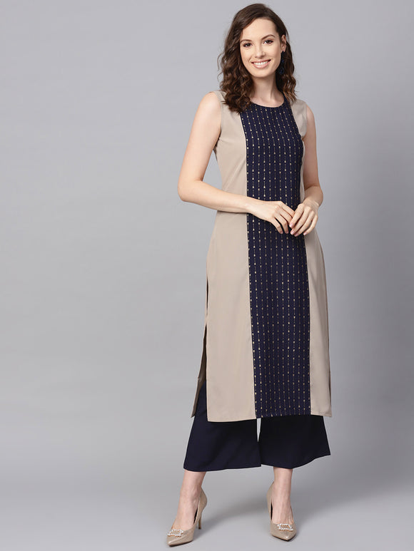 Beige & Navy Blue Foil Printed Kurta with Palazzos