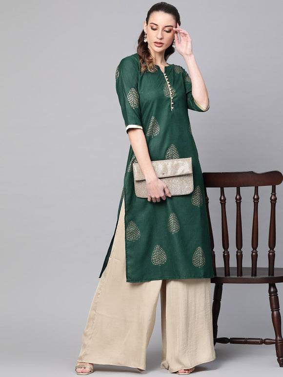 Green & Golden Block Print Straight Kurta (Top Only)