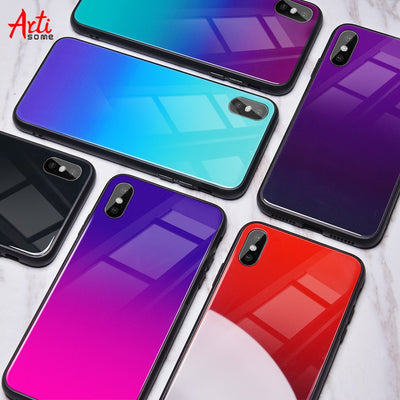 Gradient Tempered Glass Case For iPhone X 7 6 Xs Max Xr Luxury Silicone Phone Case For iPhone 7 8 Plus Case For iPhone X 7 Coque - Phone Case Offers