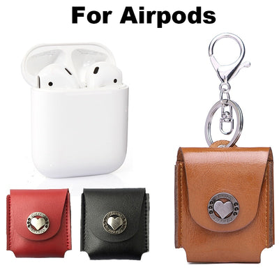 For Apple Airpods Protective Decorative Genuine Leather Bag Cover Case Pouch Earphone Cover Fashion Accessory Soft Scratch-proof - Phone Case Offers