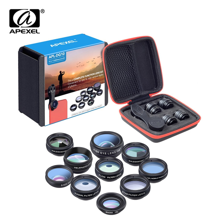 APEXEL Phone lens kit universal 10 in 1 Fisheye Wide Angle macro Lens CPL Filter Kaleidoscope+2X telescope Lens for smartphone - Phone Case Offers
