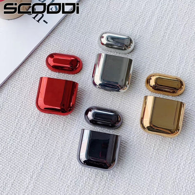 Electroplated  Hard shell earphone shell for Apple Airpods protective case luxury gold box all new Anti-fall cover For airpods 2 - Phone Case Offers