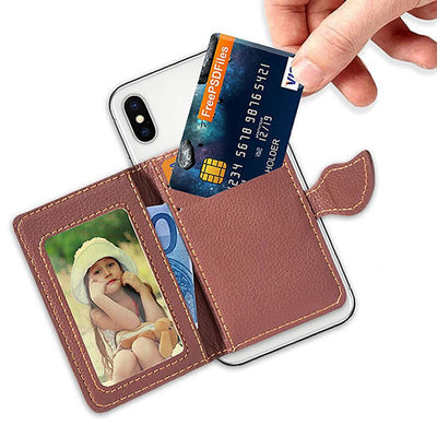 Creative PU leather Phone Wallet Case Women Men Credit Card Holder Pocket Stick 3M Adhesive Fashion Mobile Phone Card Holder - Phone Case Offers