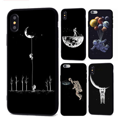 Space Moon Astronaut Phone Case For iphone 7 8 X Case For iphone 5 6 7plus XR XS Max Planet Star Frosted Soft Back Cover - Phone Case Offers