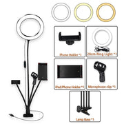 8inch LED Ring Light kit for Makeup Tutorial YouTube Video Live Stream For iPad Microphone Phone Holder Selfie Beauty Ring Light - Phone Case Offers