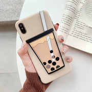 For iPhone 7 Plus X XR XS Max Case Funny Milk Bubble Tea Drink Bottle Pattern Phone Case For iPhone 8 6 Plus Soft Silicone Cover - Phone Case Offers