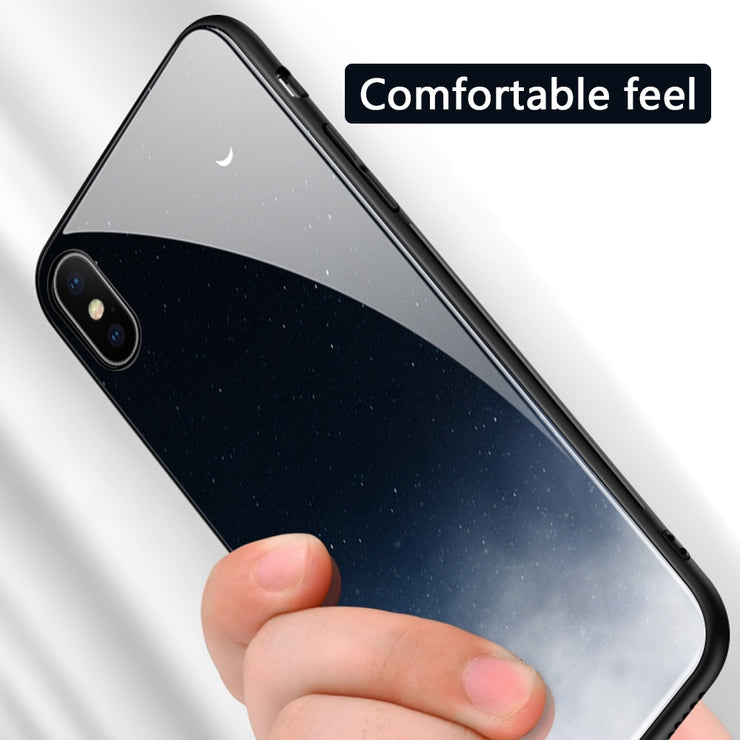 Tempered Glass Space Phone Case For iPhone XS Max XR X 8 7 6 6s Plus Soft TPU Edge Case 8plus Starry Moon Cover Coque - Phone Case Offers