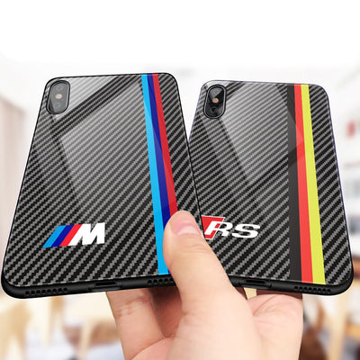 Luxury Motorsport AMG Carbon Fiber Phone Case For iphone X 6 S 6S 7 8 RACING SPORT RS Tempered Glass Racing Car BMW Cover Coque - Phone Case Offers