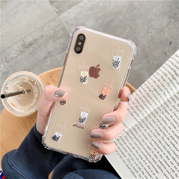 Bubble tea shockproof phone Case for iphone X XR XS XS Max Silicone Gel case for iphone 6 6s 7 8 plus Corner anti-fall cover - Phone Case Offers