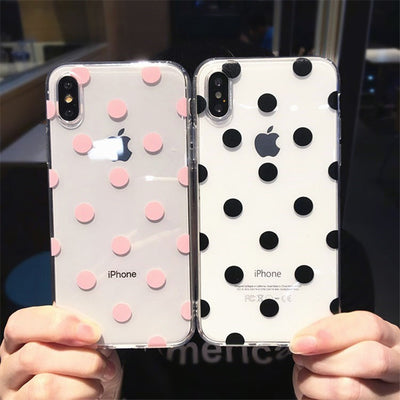 Cute Polka Dots clear TPU phone Cases For iphone XS Max X XR XS soft TPU Case for iphone 6 6s 7 8 plus phone back cover - Phone Case Offers