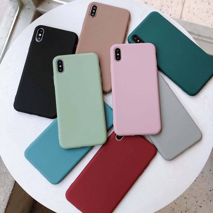 Solid Color Silicone Couples Cases For iphone Cute Candy Color Soft Phone Case - Phone Case Offers