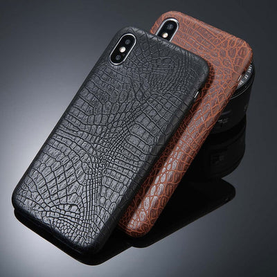 For iPhone 5 5s SE 6 6s 7 8 Plus X Case Crocodile Texture Phone Cases PU Leather Back Cover Coque For iPhone XS XR XS Max - Phone Case Offers