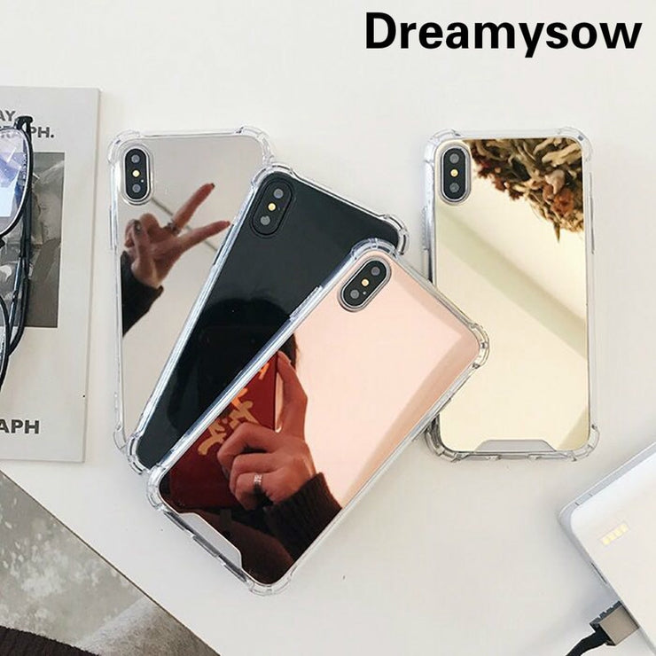 Drop Resistant Mirror Phone Case For iphone XS MAX XR X 7 8 6s 6 plus Protective Soft TPU Cover For Samsung Note 9 8 S8 S9 Plus - Phone Case Offers