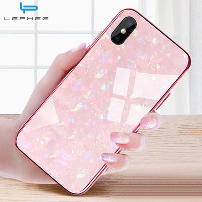 For iPhone 7 Case For iPhone X Case For iPhone XS Max XR 10 6 6s 8 Plus Luxury Conch Shell Shockproof Tempered Glass Phone Case - Phone Case Offers