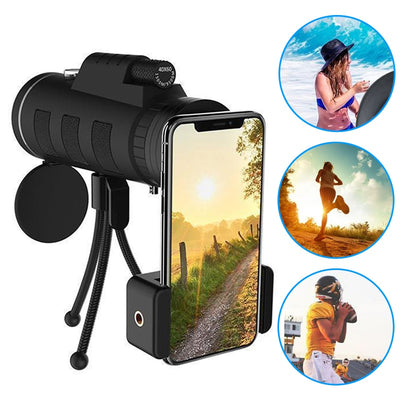 Lens for phone 40X60 Zoom for Smartphone Monocular Telescope Scope Camera Camping Hiking Fishing with Compass Phone Clip Tripod - Phone Case Offers