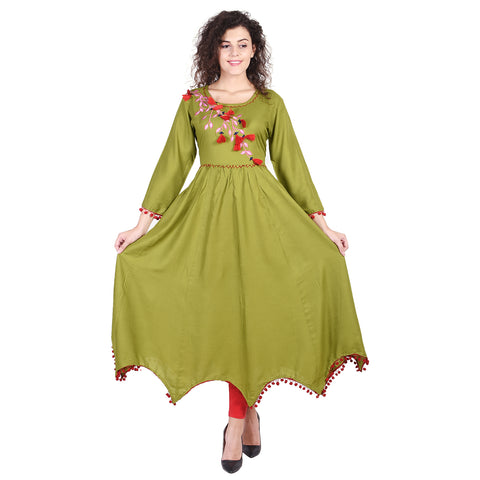 Indian Anarkali Kurtis For Women Green Dresses For Women Rayon Kurta For Women With Pom Pom Border - VIHAAN IMPEX STORE