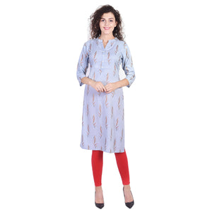 Indian Kurta Blue Kurti Straight Kurta A-line Tops Tunics For Women Rayon Kurtis For Women - VIHAAN IMPEX STORE