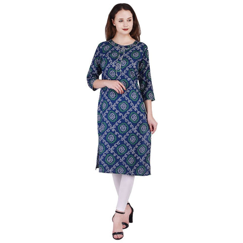 Blue Straight A-line Kurtis For Women Dresses Rayon Kurti - VIHAAN IMPEX STORE