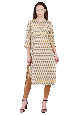 Crème Straight A-line Cotton Kurti - VIHAAN IMPEX STORE