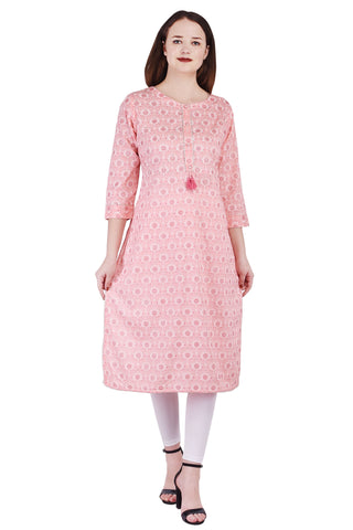 Pink Straight A-line Rayon Kurti - VIHAAN IMPEX STORE