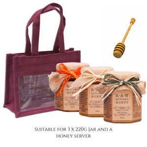 Burgundy Gift Bag for 3 Honey Jars