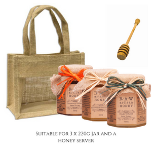 Natural Gift Bag for 3 Honey Jars