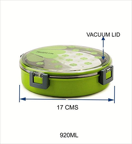 0086 Stainless Steel Round Shape Lunch Box for School Office Picnic 920 ml