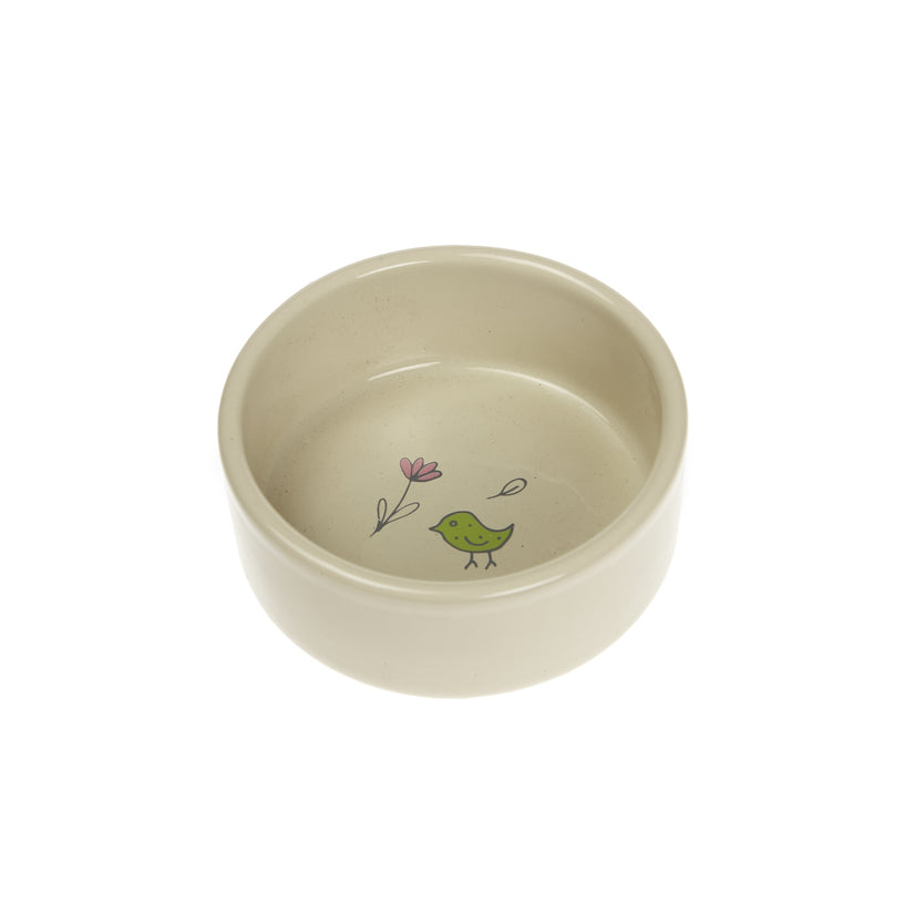 Woodland 'Flower' Cat Bowl Cream