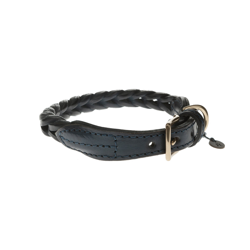 Plaited Leather Dog Collar