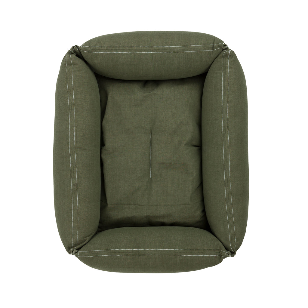 Overhead View Of Classic Dog bed in Olive Green