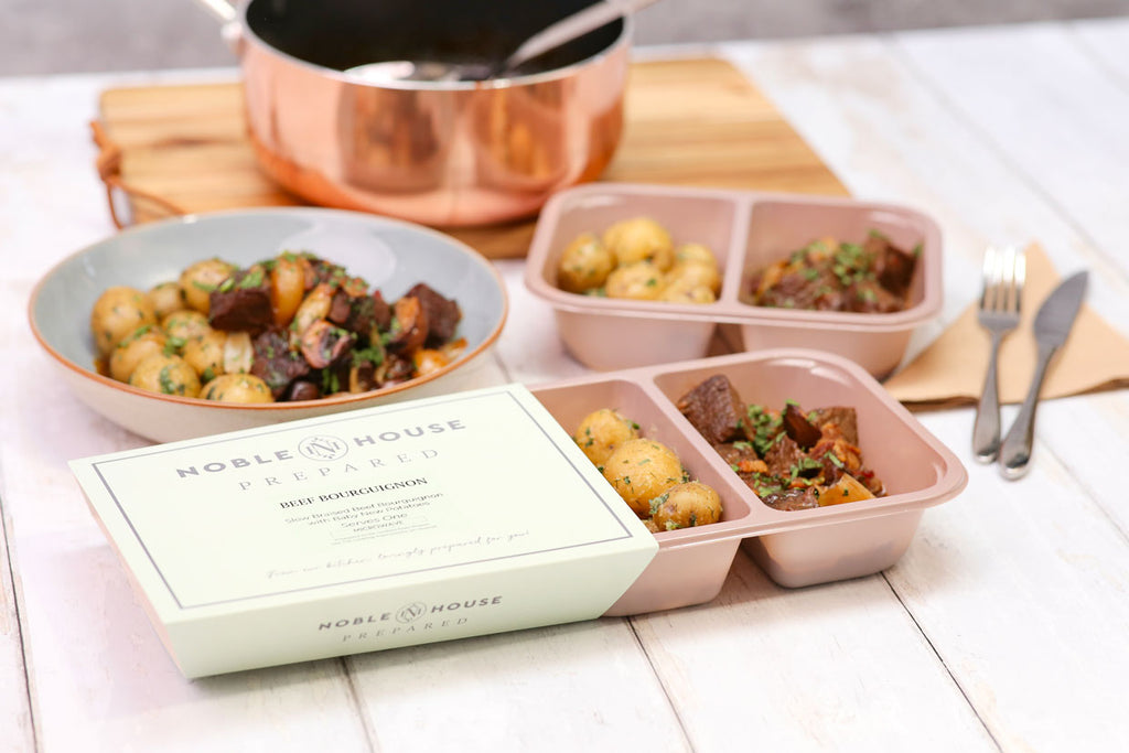 NOble House Prepared frozen meals for the office beef bourguignon vending catering contracts for workplace dining